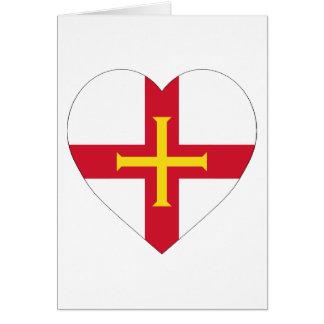 Carte Coeur de drapeau de Guernesey