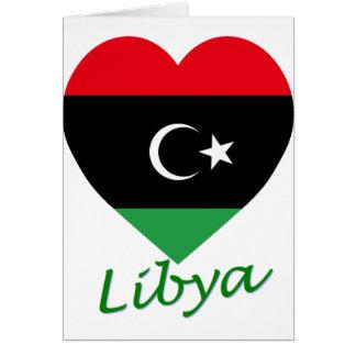 Carte Coeur de drapeau de la Libye avec le nom