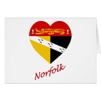 Carte Coeur de drapeau de la Norfolk avec le nom