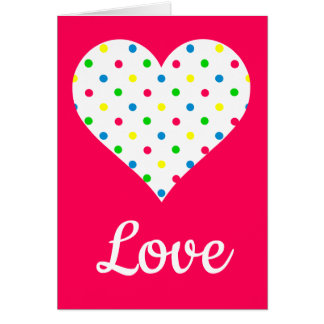 Carte Coeur lumineux de point de polka d'été sur le rose