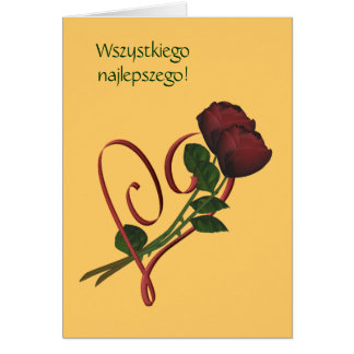 Carte Coeur polonais de roses rouges de Lat de Sto de