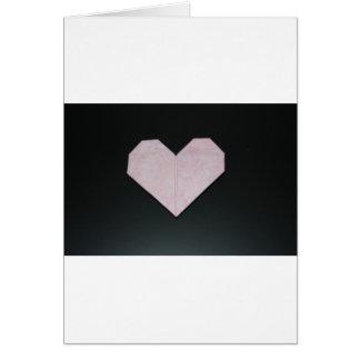 Carte coeur rose simple d'origami