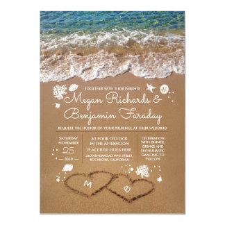 Carte Coeurs dans le mariage de plage d'été de sable