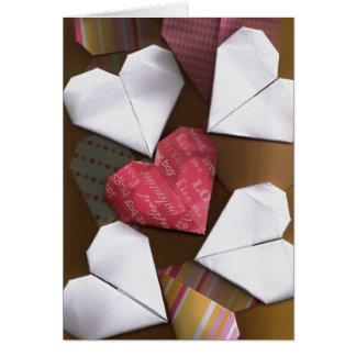 Carte Coeurs d'origami saluant/carte de note