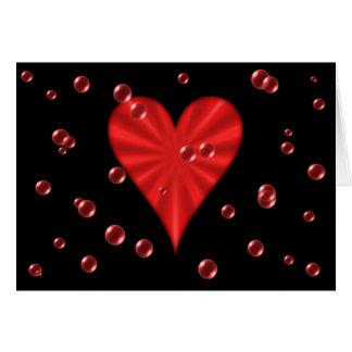 Carte Coeurs et bulles (noir)