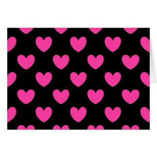 Carte Coeurs roses fuchsia de polka sur le noir