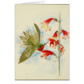 Carte Colibri et fleurs rouges