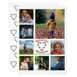 Carte Collage de photo du coeur 8 de menthe de Noël de