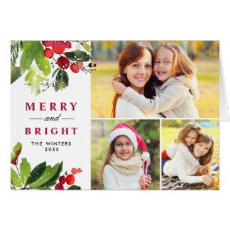 Carte Collage floral de photo d'aquarelle de Noël |