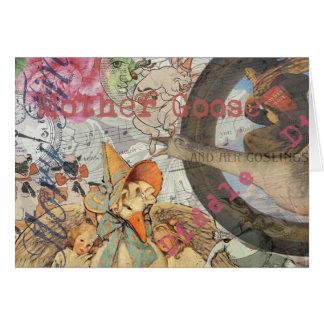 Carte Collage vintage de conte de fées d'oie de mère