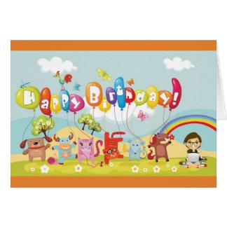 Carte colorée d'anniversaire de enfant