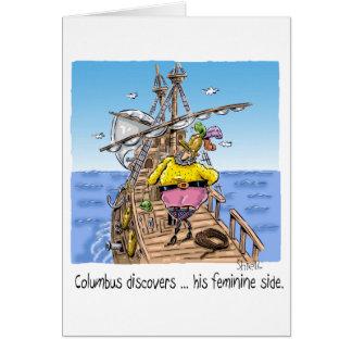 """Carte """"Columbus découvre… son côté féminin """""""