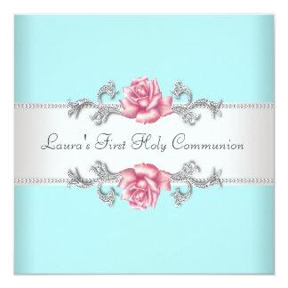 Carte Communion de Teal de filles turquoises de rose de