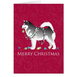 Carte Conception de Joyeux Noël de chien de Malamute