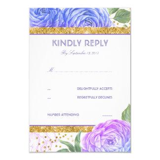 Carte Confettis RSVP floral pourpre bleu de