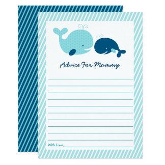 Carte Conseil de baby shower de baleine de point de