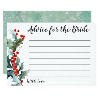 Carte Conseil de houx d'hiver pour la jeune mariée