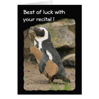 Carte Considérant de violon de pingouin, bonne chance