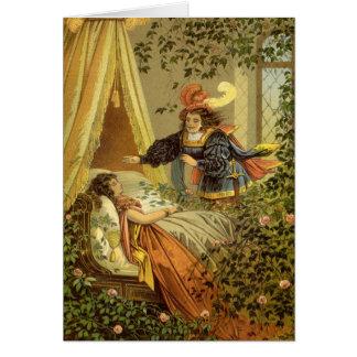 Carte Conte de fées victorien vintage, beauté de sommeil