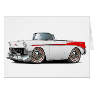 Carte Convertible 1956 Blanc-Rouge de Chevy Belair