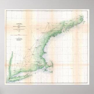 Carte côtière de la Nouvelle Angleterre (1864) -
