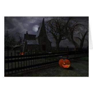 Carte Cottage de sorcière avec la lanterne de citrouille