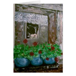Carte Cottage rustique avec des géraniums