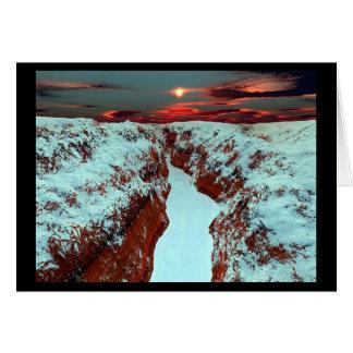 Carte Coucher du soleil au-dessus de rivière congelée