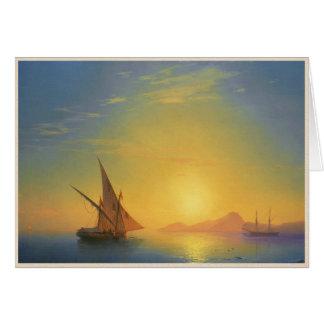 Carte Coucher du soleil au-dessus des eaux de paysage