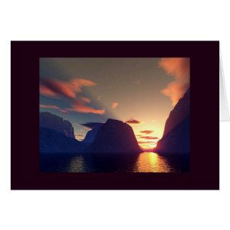 Carte coucher du soleil d'océan de bluerock