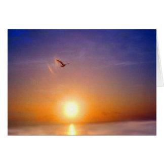 Carte Coucher du soleil d'océan pensant à vous