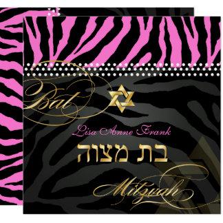Carte Couleur rose du bat mitzvah de zèbre de