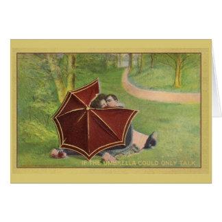 Carte Couples vintages sous le parapluie