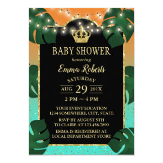 Carte Couronne Luau tropical d'or de baby shower