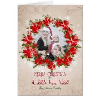 Carte Couronne rouge de poinsettia et Noël de flocons de