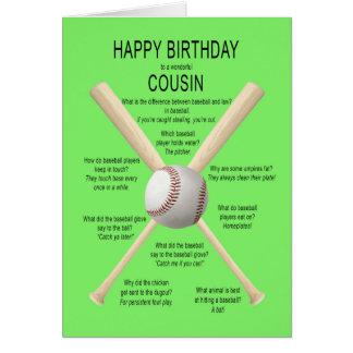 Carte Cousin, plaisanteries de base-ball d'anniversaire