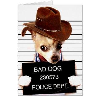 Carte cowboy de chiwawa - chien de shérif