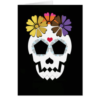 Carte Crâne avec des fleurs