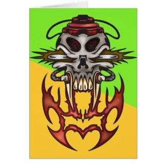 Carte Crâne de cyborg en feu