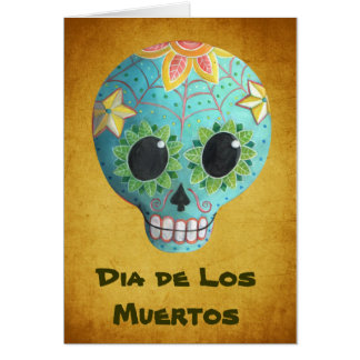 Carte Crâne de sucre de Blue Dia de Los Muertos Art
