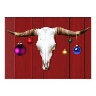 Carte Crâne de vache avec des ornements de Noël sur la
