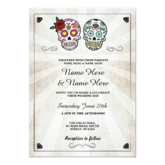 Carte Crâne épousant l'invitation gothique de crânes de