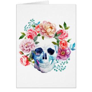 Carte Crâne et fleurs artistiques d'aquarelle