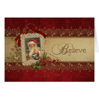 Carte Croyez l'or et Noël rouge de cru de damassé