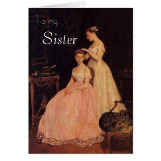 Carte d anniversaire élégante vintage de soeur
