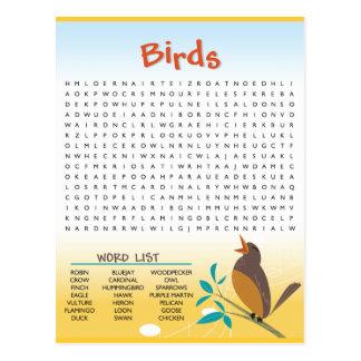 Carte d'activité de recherche de mot d'oiseaux