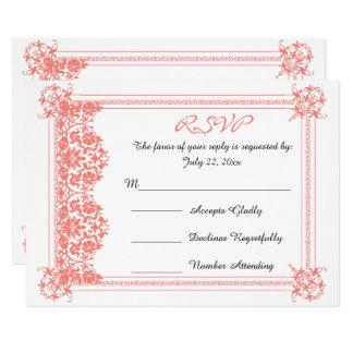 Carte Damassé de corail de RSVP et mariage blanc
