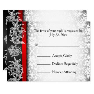 Carte Damassé moderne de mariage de RSVP en le blanc, le