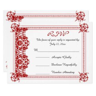 Carte Damassé rouge foncé de RSVP et mariage blanc