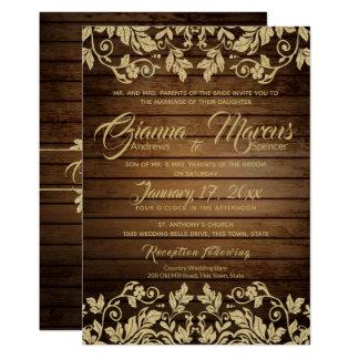 Carte Damassé rustique d'or et mariage en bois de grange